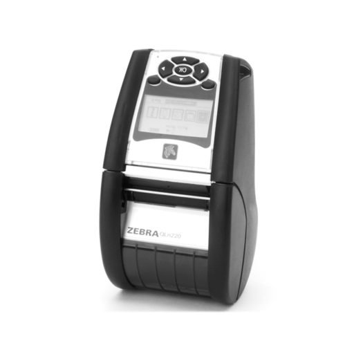 Impresora térmica portátil Zebra QLn220 de pie.