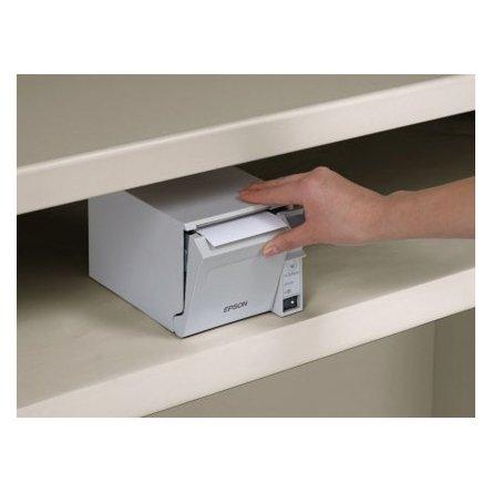Impresora de tickets térmica Epson TM-T70II bajo un mostrador.