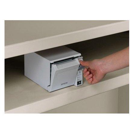 Impresora de tickets térmica Epson TM-T70II colocado bajo un mostrador