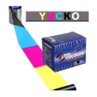 Cartucho cuatro colores + Barniz protección. Una cara. P330i/430i (330 tarjetas).